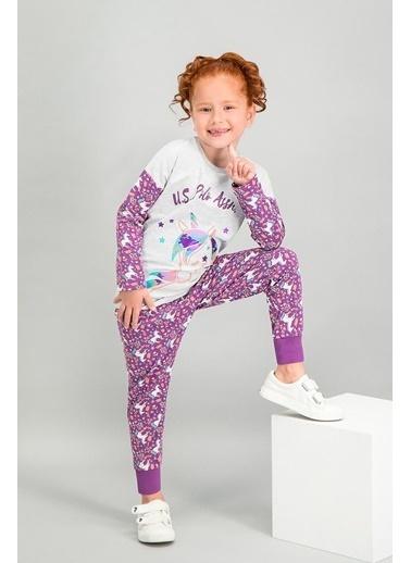 U.S. Polo Assn. U.S. Polo Assn Lisanslı Pembemelanj Kız Çocuk Pijama Takımı Gri